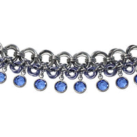 Flowers in Bloom Chainmail Bracelet (silver with blue crystals ) / 6.5 to 7 Inch wrist size / anodized aluminum jump rings / pewter clasp