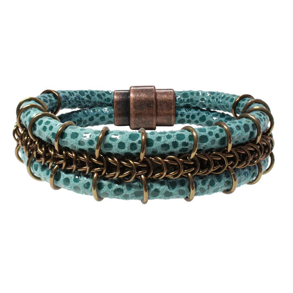 Cord-ially Yours Bracelet (turquoise & bronze) / 6.5 to 7 Inch wrist size / anodized aluminum chainmail / suede leather cord / magnetic clasp