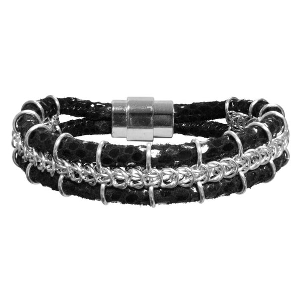 Cord-ially Yours Bracelet (black & silver) / 6.5 to 7 Inch wrist size / anodized aluminum chainmail / suede leather cord / magnetic clasp