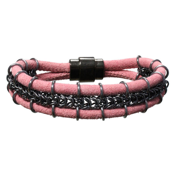 Cord-ially Yours Bracelet (pink & black) / 6.5 to 7 Inch wrist size / anodized aluminum chainmail / suede leather cord / magnetic clasp