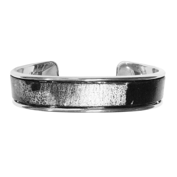 Black Silver Cuff Bracelet / fits up to 7 inch wrist size / Euro leather on bright rhodium cuff / lotus charm