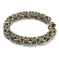 Three-Ring Byzantine Chainmail Bracelet / fits up to 7 inch wrist size / with champagne, seafoam green & bronze anodized aluminum jump rings