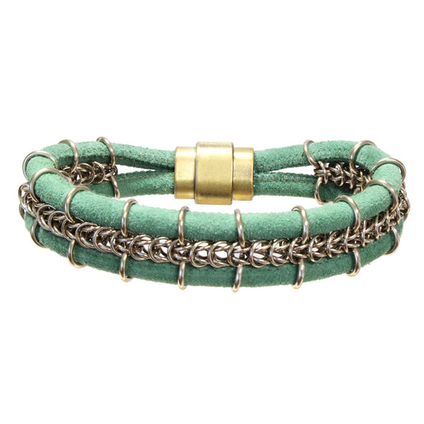 Cord-ially Yours Bracelet (green & champagne) / 6.5 to 7 Inch wrist size / anodized aluminum chainmail / suede leather cord / magnetic clasp
