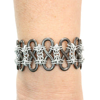 Ad Infinitum Bracelet / up to 7 Inch wrist size / black infinity links chained together with silver matte chainmail