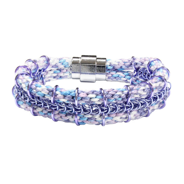Cord-ially Yours Bracelet / 6.5 to 7 Inch wrist size / light purple lavender chainmail / kumihimo woven braid / magnetic clasp