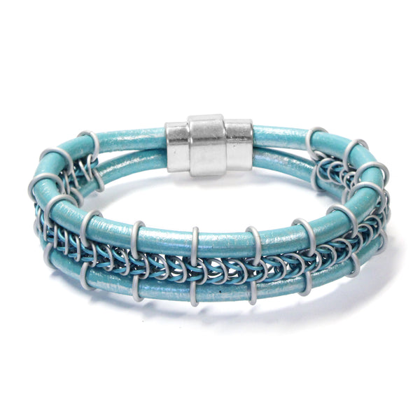 Cord-ially Yours Bracelet / 6.5 to 7 Inch wrist size / matte silver & sky blue chainmail / metallic seafoam leather cord / magnetic clasp