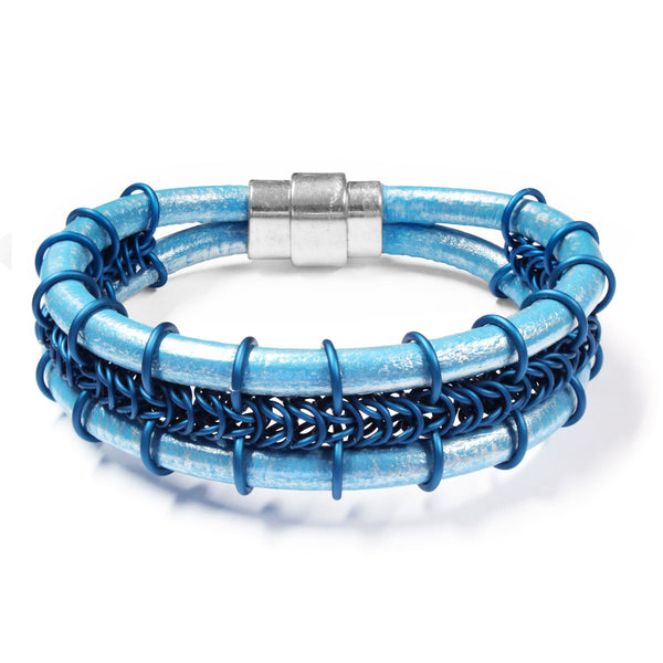 Cord-ially Yours Bracelet / 6.5 to 7 Inch wrist size / matte royal blue chainmail / metallic sky blue leather cord / magnetic clasp