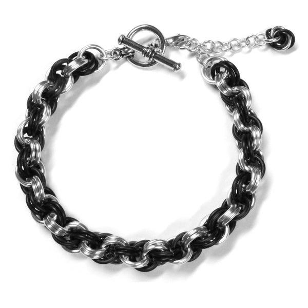 Double Spiral Chainmail Bracelet / matte black and silver / aluminum jump rings / adjustable clasp for 6.5 to 7.5 inch wrist