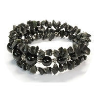 Black Onyx Mania Bracelet / 6 to 8 Inch wrist size / triple wrap / round and chip beads / silver spacers