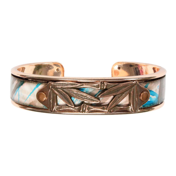 Bamboo Leaves Cuff Bracelet / fits up to 7 inch wrist size / turquoise bronze printed leather / rose gold plated cuff