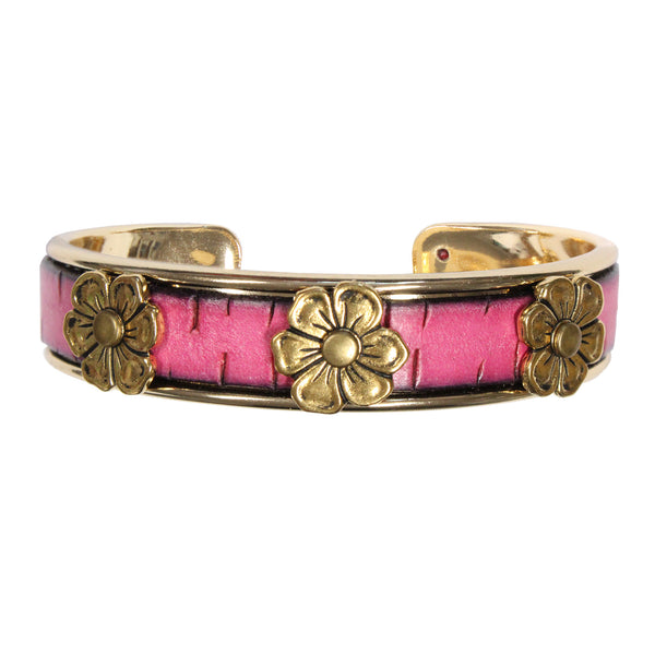 Apple Blossom Cuff Bracelet with lotus charm / fits up to 7 inch wrist size / pink bark leather / gold plated cuff