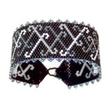Shades of Grey Peyote Stitch Bracelet / fits 6.5 to 7 Inch wrist / pewter button clasp