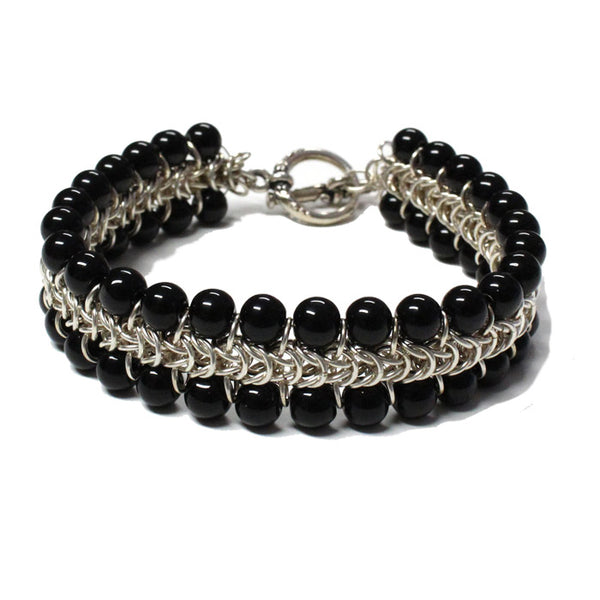 Black Onyx Chainmail Bracelet / for 7 inch wrist size / pewter toggle clasp