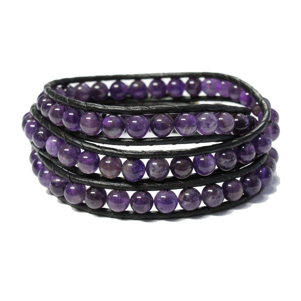 Amethyst Triple Wrap Bracelet / fits 6.5 to 7 Inch wrist size / 6mm beads with 2mm black leather cord / button closure