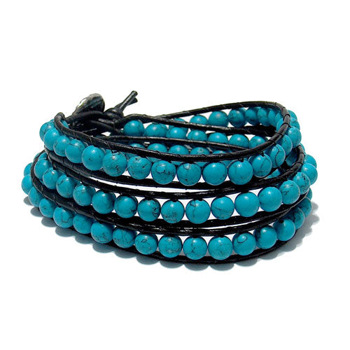 Blue Turquoise Triple Wrap Bracelet / fits 6.5 to 7 Inch wrist size / 6mm beads with 2mm black leather cord / button closure