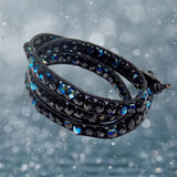 Black Rainbow Triple Wrap Bracelet / fits 6.5 to 7 Inch wrist size / 6mm beads with 2mm black leather cord / button closure