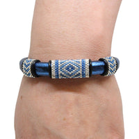 Geometric Bracelet / fits 6.5 to 7 Inch wrist size / blue and silver / peyote stitch sliders / leather with magnetic clasp