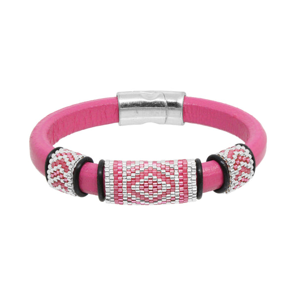 Geometric Bracelet / fits 6.5 to 7 Inch wrist size / pink and silver / peyote stitch sliders / leather with magnetic clasp