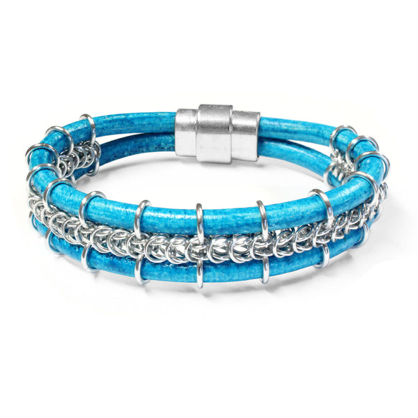 Cord-ially Yours Bracelet / 6.5 to 7 Inch wrist size / bright silver chainmail / distressed turquoise blue leather cord / magnetic clasp