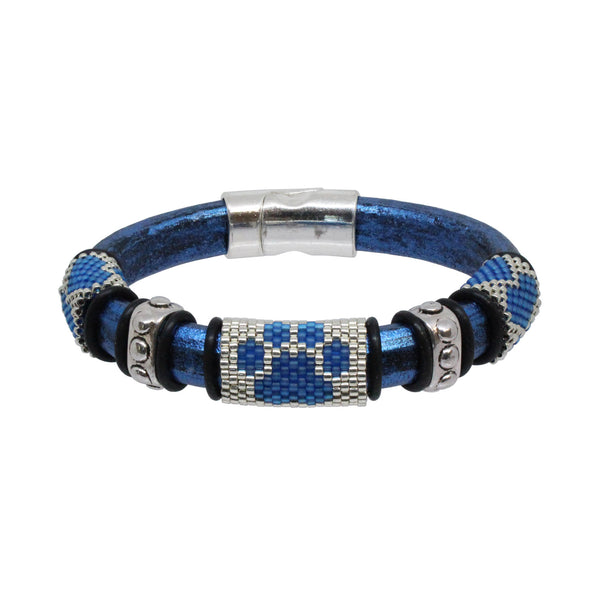 Dog Paw Bracelet / fits 6.5 to 7 Inch wrist size / blue and silver / Euro leather cord / paw print and love heart peyote stitch sliders