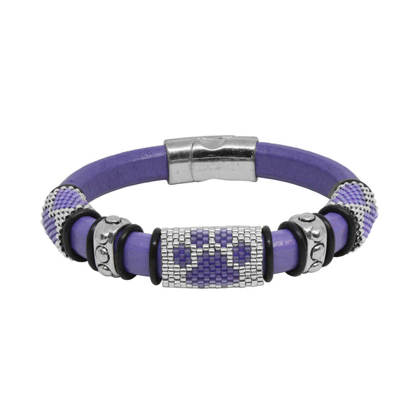 Dog Paw Bracelet / fits 6.5 to 7 Inch wrist size / purple and silver / Euro leather cord / paw print and love heart peyote stitch sliders