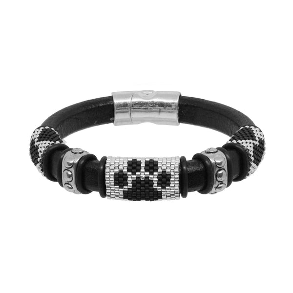 Dog Paw Bracelet / fits 6.5 to 7 Inch wrist size / black and silver / Euro leather cord / paw print and love heart peyote stitch sliders