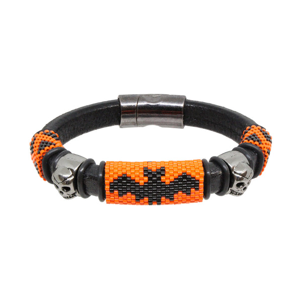 Scary Halloween Bracelet / fits 6.5 to 7 Inch wrist size / large bat with skulls / Euro leather cord / handmade peyote stitch sliders