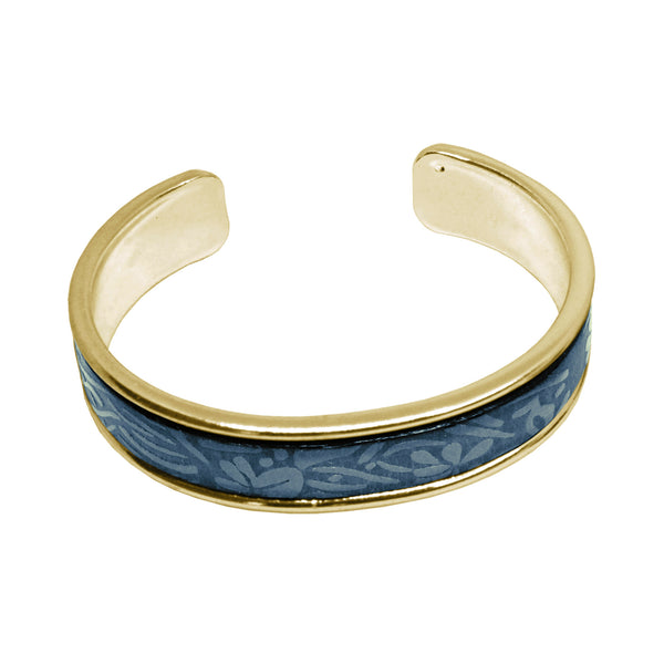 Blue Leather Cuff Bracelet / fits up to 7 inch wrist size / embossed floral leather / gold plated cuff