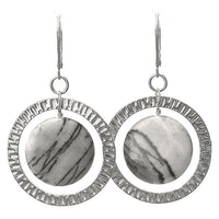 Grey Picasso Jasper Earrings / 50mm length / silver pewter and soft greys natural stone / sterling leverbacks