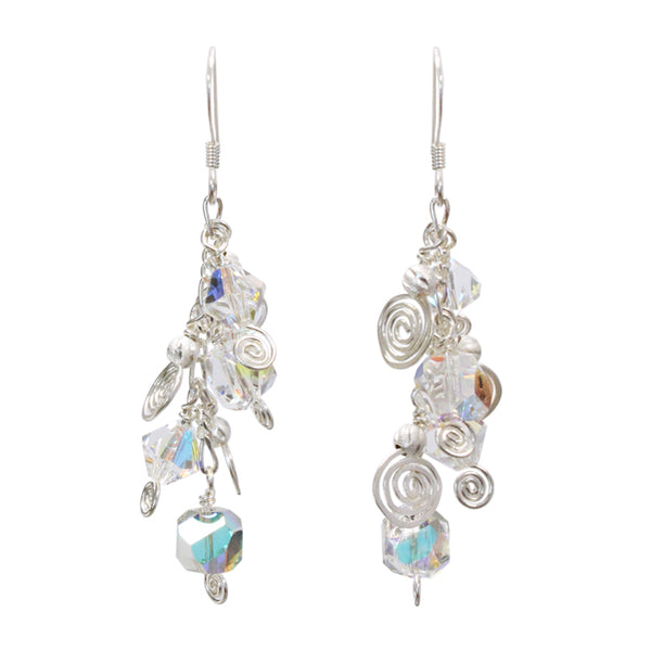 Galaxy Aqua Light Earrings / 50mm length / sterling silver and crystal