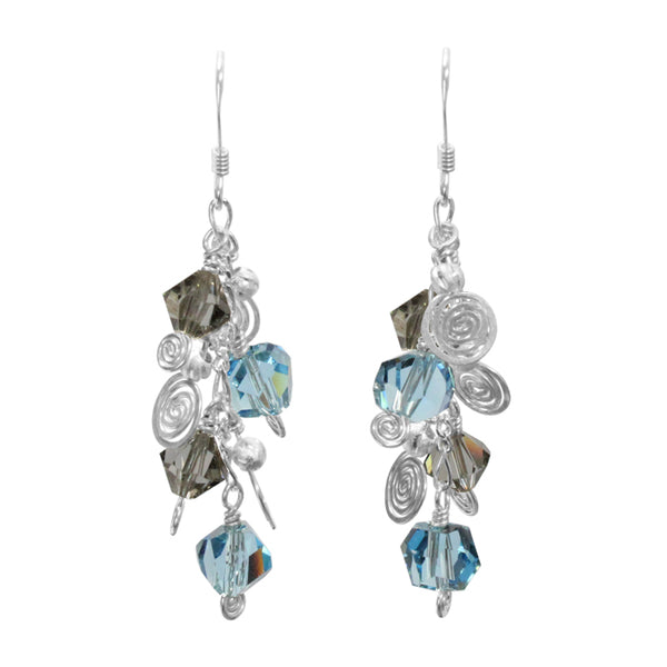 Galaxy Aqua Dark Earrings / 50mm length / sterling silver and crystal