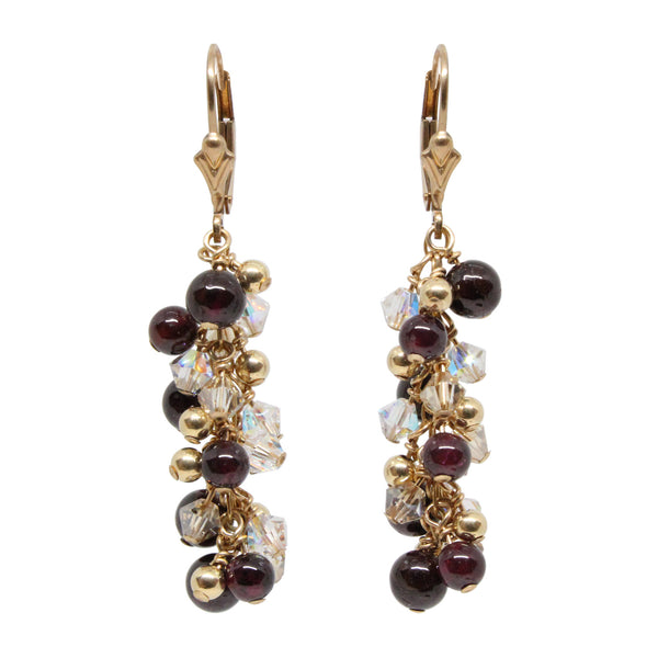 Garnet Fire And Ice Earrings / 50mm length / gold filled leverback earwires