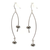 Black Crystal Ellipse Earrings / 60mm length / black crystal and silver wirework / sterling hook earwires