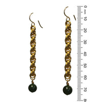 BC Jade Spiral Chainmail Earrings / 75mm length / gold filled earwires