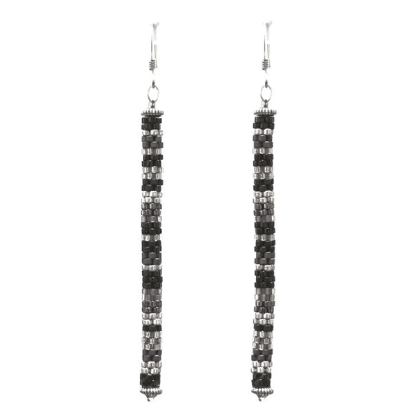 Black and Silver Tube Earrings / 80mm length / beadwoven glass beads stix style / sterling earwires