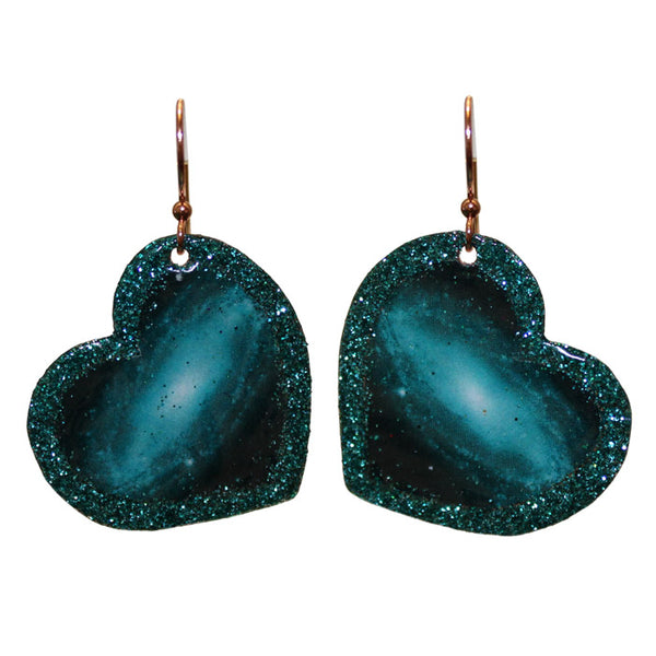Teal Galaxy Glitter Heart Earrings / 45mm length / glittery galaxy on a large, heart-shaped copper pendant / pure copper earwires