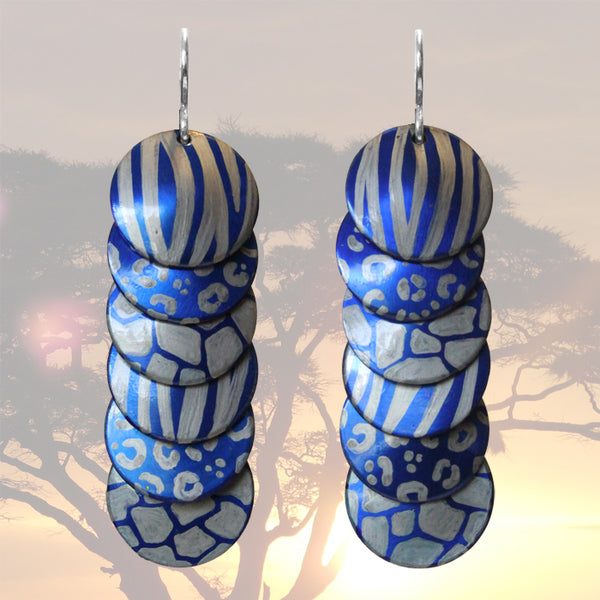 Silver Blue Animal Prints Earrings / 57mm length / sterling silver earwires / safari africa zoo cheetah or giraffe spots, tiger stripes
