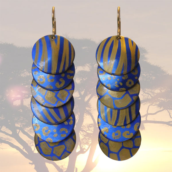 Gold Blue Animal Prints Earrings / 57mm length / gold filled earwires / safari africa zoo cheetah or giraffe spots, tiger stripes