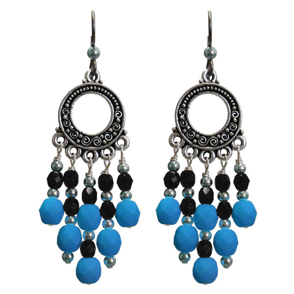 Neon Electric Blue Chandelier Earrings / 65mm length / dark silver with sterling earwires