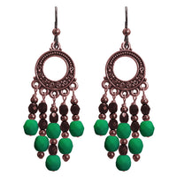 Neon Emerald Green Chandelier Earrings / 65mm length / dark copper with hypo-allergenic niobium earwires