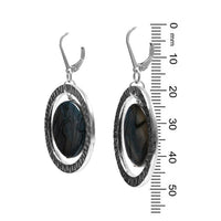 Spectral Ring Earrings / 50mm length / blue grey shell with silver / sterling leverback earwires