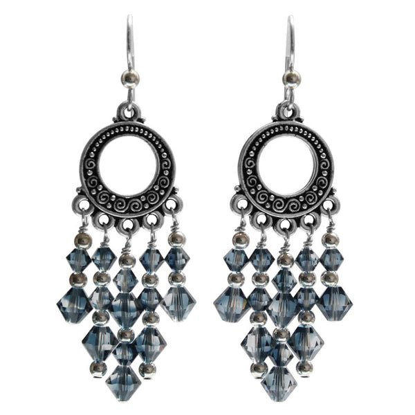 Blue Ice Shadow Chandelier Earrings / 65mm length / dark silver and crystal / sterling silver earwires