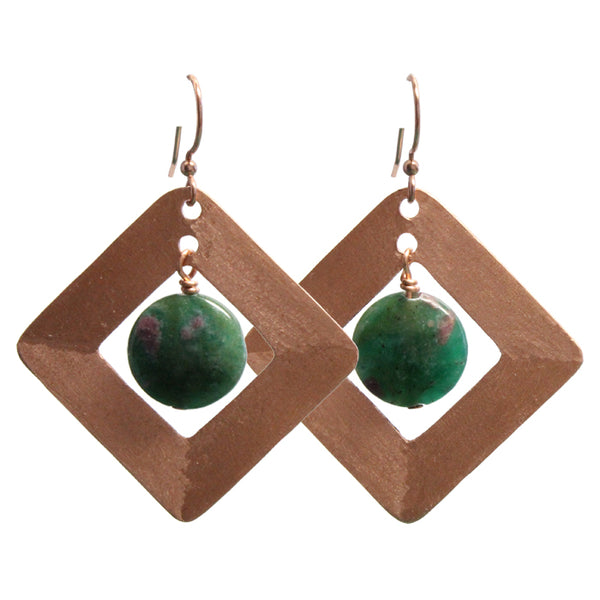 Brushed Copper Earrings with Ruby Fuchsite / 55mm length / pure copper earrings