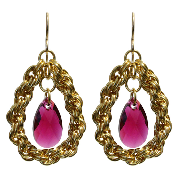 Red Carpet Chainmail Earrings / 48mm length / gold filled earwires