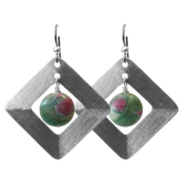 Brushed Steel Earrings with Ruby Fuchsite / 55mm length / hypo-allergenic niobium earwires