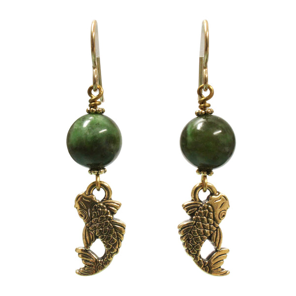 BC Jade Koi Earrings / 47mm length / gold filled earwires