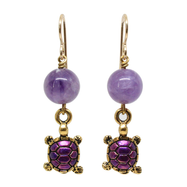 Turtle Earrings / 45mm length / hand painted pewter charms / purple amethyst / gold filled earwires