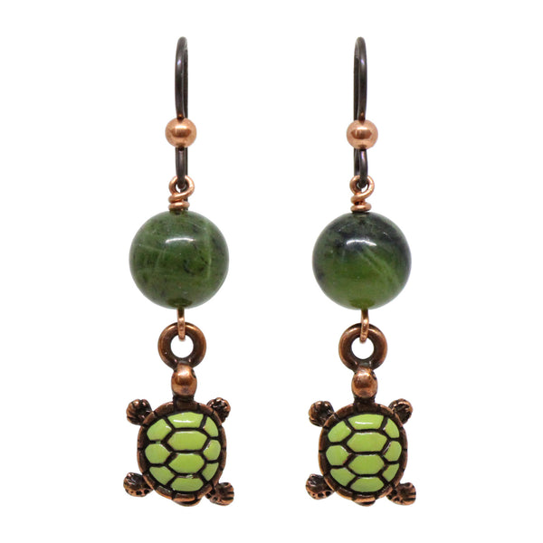 Turtle Earrings / 47mm length / antiqued copper niobium earwires