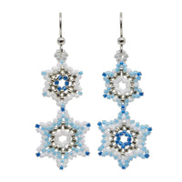 Winter Snowflake Earrings / 58mm length / sterling silver earwires with ball