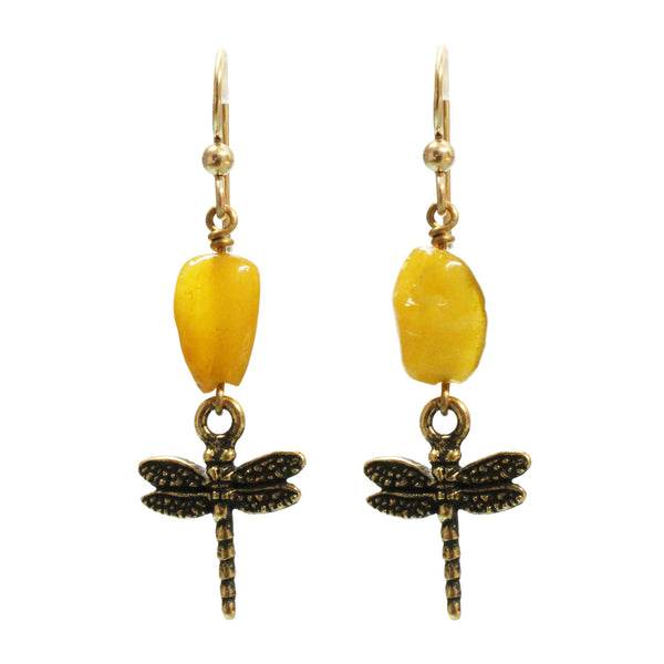 Dragonfly Amber Earrings / 50mm length / gold filled earwires